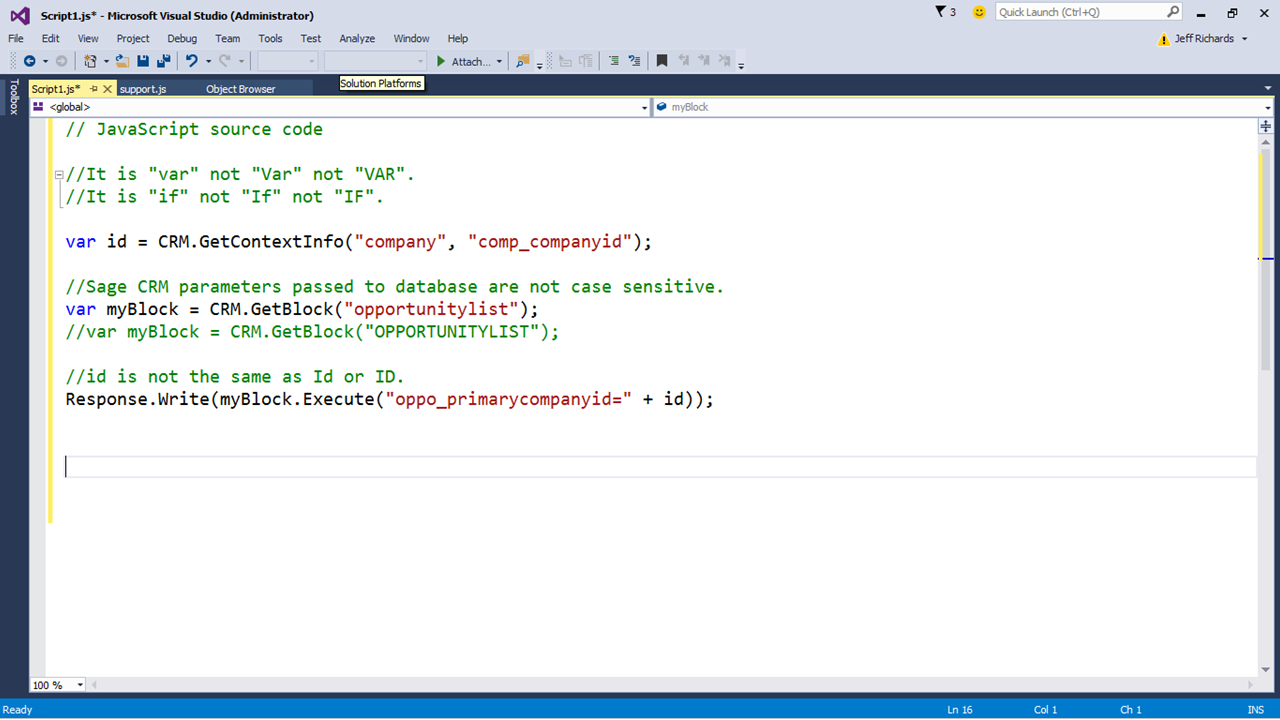 An Introduction to JavaScript in Sage CRM (Part 3) - Hints, Tips and