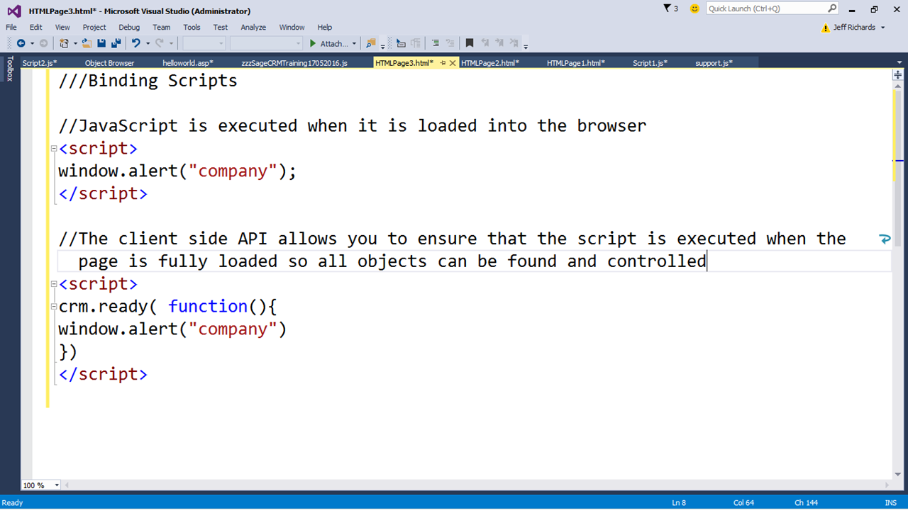 An Introduction to JavaScript in Sage CRM (Part 6) - Hints