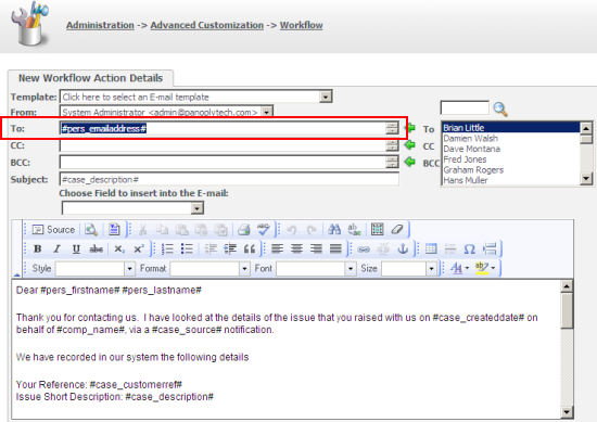 Using Workflow to Simplify the Sending of an Email to a Customer ...